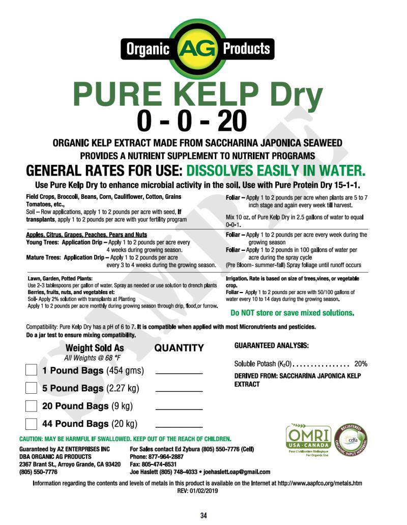 Download Label Pure Kelp Dry 0-0-20